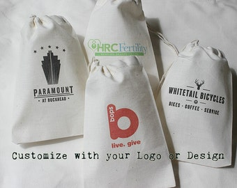 10 Your Logo Here - Custom logo muslin cotton drawstring bags - Business logos, your own design, full color 4x6 inch