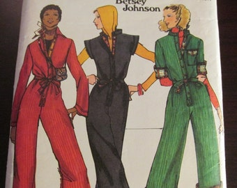 Butterick 4957 Vintage 1970s Betsey Johnson Misses' Jumpsuit Sewing Pattern