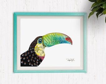 Toucan, watercolor print
