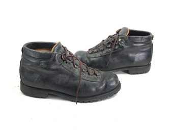 Size 9 W - Vintage Men's Hiking Ankle Boots Black Leather