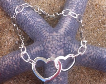 Bracelet Duo of hearts on chain