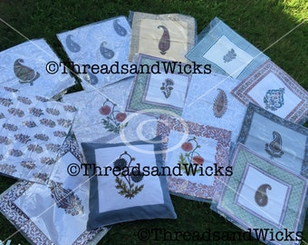 Cushion cover handblock printed,Elegant white covers with multicolored Paisley prints perfect for summer,pillow cover.Check all designs