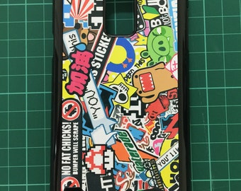 Sticker Bomb Phone Cover Back Side Case Cover Printed colorful Pedo Bear Mario Angry Birds Domo JDM Galaxy S5 S6