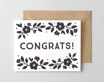 Floral Congrats Letterpress Greeting Card