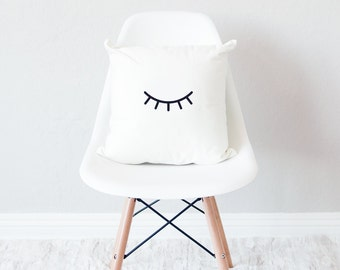 White throw pillow with insert / minimal home decor / eyes closed design cushion /