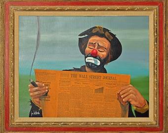 Jon Helland Original Painting Clown with Wall Street Journal