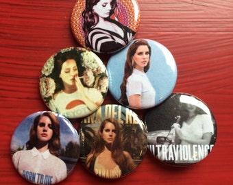 "1.25"" Lana Del Rey pin back button set of 6"