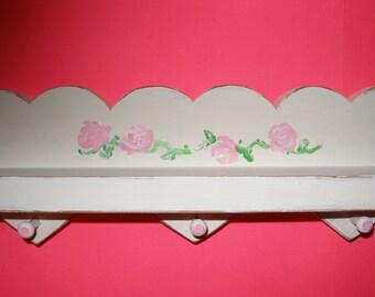 Shabby Chic Shelf  handpainted roses pink hearts girls room powder room