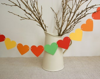 Autumn Bunting, Bright Autumn Hearts Garland, Wedding Decoration, Fall Wedding, Thanksgiving, October Birthday