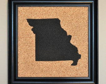 Missouri Painted Corkboard: Pinnable Custom State-Shaped Maps! Home State Cork Travel Map