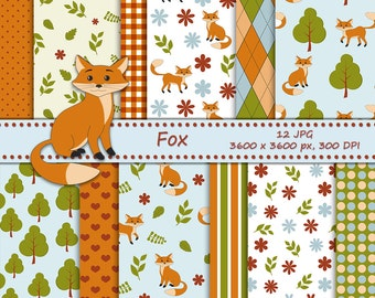 Fox digital paper - 12 printable backgrounds - fox in the woods - cute forest animals digital background