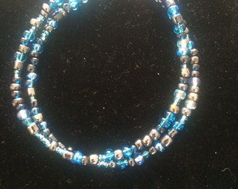 Double Stranded Blue Beaded Bracelet with Lobster Clasp