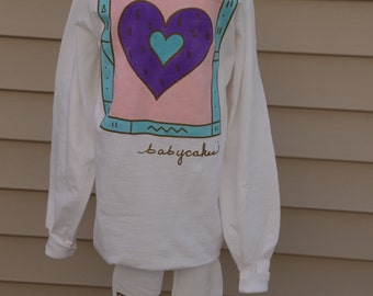 "Hand Painted ""heart"" designed long sleeve shirts size large"