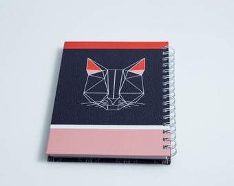 Gift for her, Geometric notebook,Geometric cat,A5, Geometric design, gift under 100, red, gift for her, designed notebook, back to school