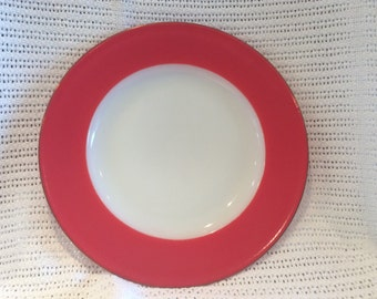 """Pyrex JAJ Weardale Dinner Plates in Coral Red with Gold Edges 9 3/4"""" diameter."""