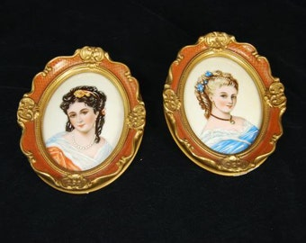 2 Limoges Hand Painted Framed Porcelain Plaques Beautiful Women 1912 Signed Fela