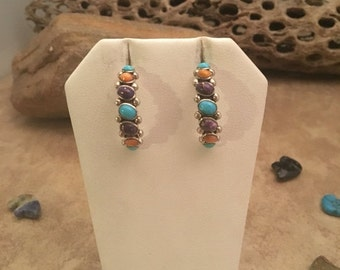 ON SALE Vintage Zuni Sterling Silver & Multi Stone Half Hoop Earrings