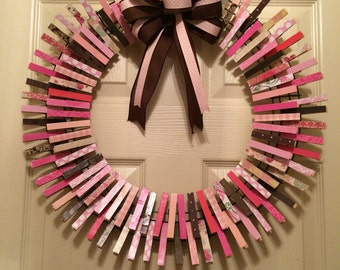 Pink, brown & cream clothespin wreath