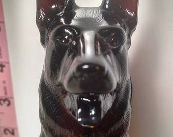 "Avon ""Noble Prince"" German Shepherd brown collectible bottle with Wild Country Aftershave Full"