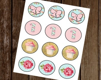 Shabby Chic Cupcake Toppers, Printable Cupcake Toppers, Shabby Chic Birthday Decor