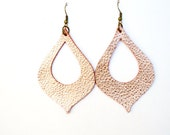 Leather Earrings: Lightweight Statement Earrings--LIMITED EDITION COLOR--Metallic Rose Gold Foil  Leather Cutout Earrings