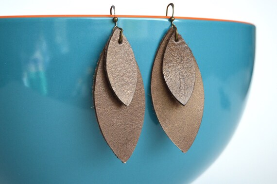 Genuine Leather Dangle Earrings:  Bronze Metallic Brown Leather Feather Earrings--Leaf Earrings