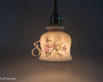 Teacup lamp from vintage Royal Ascot Bone China Charming Violet