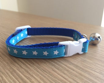 Teal and White Star Cat/Kitten Collar (Quick Release)