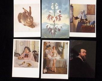 Vintage Postcards Destash, Collectible Art Postcards, Vintage Vermeer, Vintage Rubens, Russian Art Postcards, The Hare Postcard