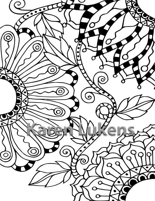 Flowering Vine 3 1 Adult Coloring Book Page Printable Instant Download