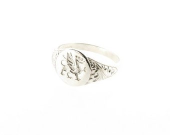 Sterling Silver Welsh Dragon Oval Signet Ring with Scrolls - UK Sizes L - Q - US Sizes 5.5 - 8