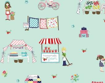 "Riley Blake Designs, MAIN MINT ""Vintage Market"" by Tasha Noel, per half-yard"