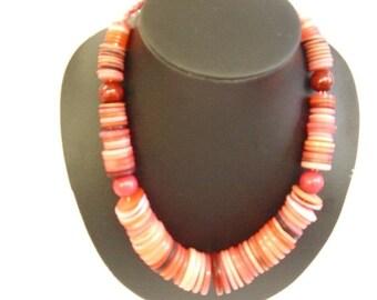 Orange Button necklace