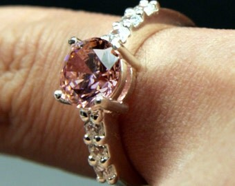 Beautiful Pink CZ Ring with White CZ accents