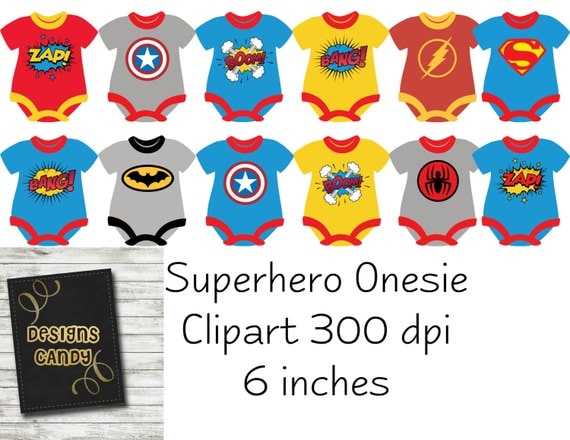 Superhero 12 Clipart Onesie - Spiderman, Superman,Batman, Cap America ...