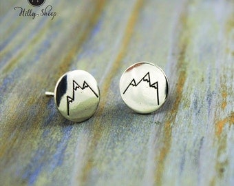 silver Earrings  - Mountains' view pastilles.Silver jewelry. Mountain jewelry. Travel. Fashion.