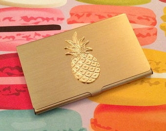 Gold Pineapple Business Card Holder // Chic Pineapple Office Supplies // Graduation Gift