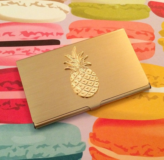 Gold pineapple business card holder chic pineapple office for Chic business card holder