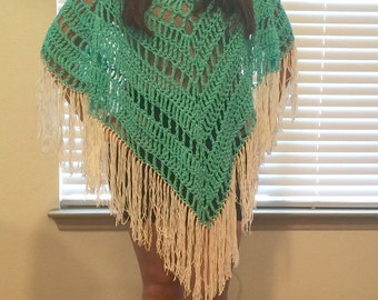 Teal Crochet Poncho/Cover-up with White Fringe