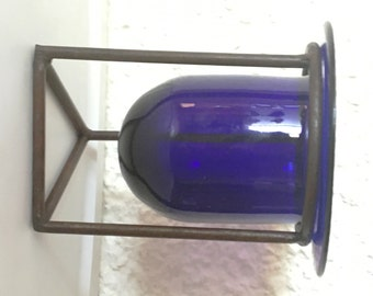 Pot glass blue with iron core