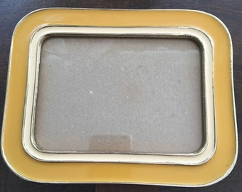 Yellow Picture Frame, Buckler Enamel Picture Frame, Vintage Yellow Picture Frame