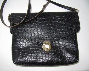 Black leather large clutch bag