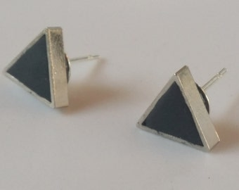 Brass (silver color) & clay post earrings