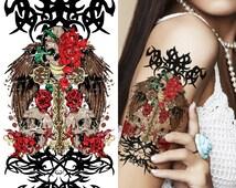 Supperb® Temporary Tattoos - Tribal Skull & Roses
