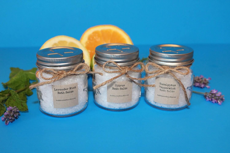 Bath Salts Trio Lavender Mint Citrus Eucalyptus Peppermint
