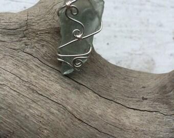 Light blue Maine sea glass pendant