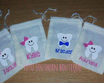 Personalized Tooth Fairy Bag - Tooth Fairy Pouch - Personalized Tooth Fairy Pouch - Tooth Keepsake - Tooth Fairy Bag