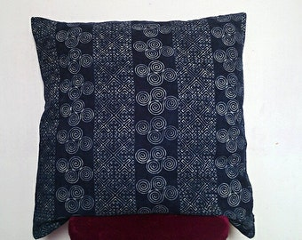 Hmong pillows cover ,Front is a crafted from two pieces of vintage Hmong hill tribe dress fabric.