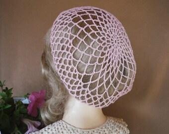 Pink Crocheted Snood,Crocheted Hat,Crocheted Hair Net,1860's Costume Headpiece,Civil War Era Hairpiece,Woman's Crocheted Hat,Reenactment Hat