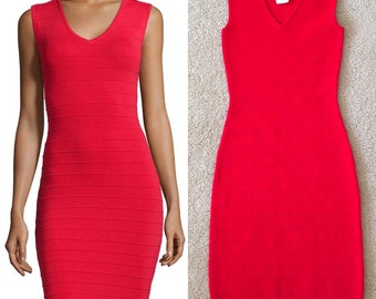 Neiman Marcus Red Bandage Bodycon Dress